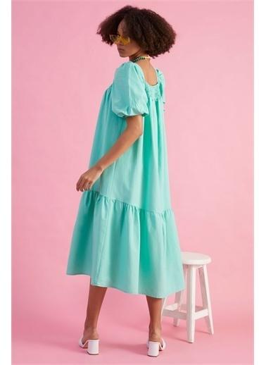 Z Giyim Kadın  Pembe  Ön Arka Yaka Gipeli Elbise Yeşil